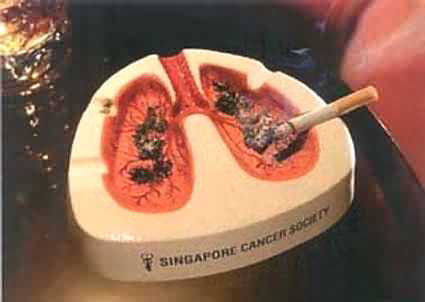 肺がんをイメージした灰皿